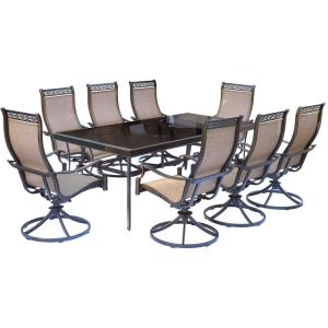 Monaco - 84 Inch 9 Piece Glass Top Dining Set with 8 Sling Dining Chairs