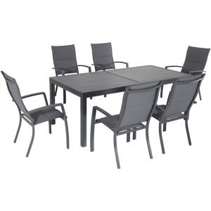 "Naples - 118"" 7 Piece Dininng Set with 6 High Back Padded Sling Chairs"