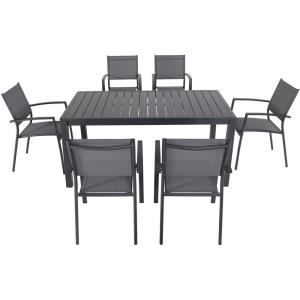 Naples - 78 Inch 7 Piece Dining Set with 6 Sling Chairs