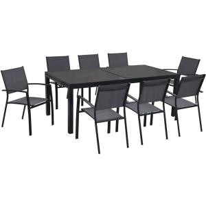 Naples - 118 Inch 9 Piece Dining Set with 8 Sling Back Chairs