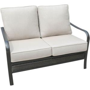 "Oakmont - 49.8"" Commercial-Grade Aluminum/Woven Loveseat with Plush Sunbrella Cushions"