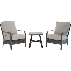 "Oakmont - 3-Piece Commercial-Grade Patio Set with 2 Aluminum/Woven Club Chairs and 22"" Slat-Top Side Table"