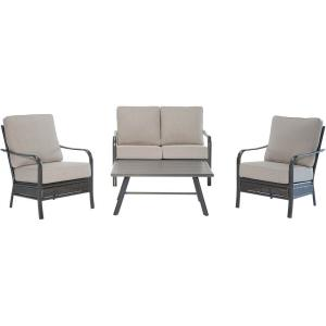 Oakmont - 4-Piece Commercial-Grade Patio Set with 2 Aluminum/Woven Club Chairs, Loveseat, and Slat-Top Coffee Table