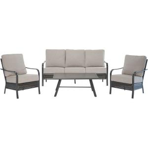 Oakmont - 4-Piece Commercial-Grade Patio Set with 2 Aluminum/Woven Club Chairs, Sofa, and Slat-Top Coffee Table