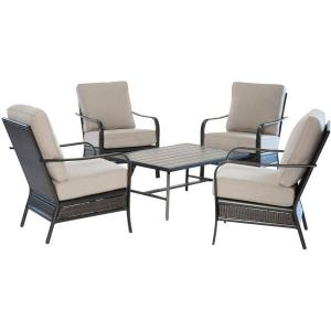 Oakmont - 5-Piece Commercial-Grade Patio Set with 4 Aluminum/Woven Club Chairs and Slat-Top Coffee Table