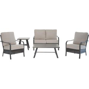 Oakmont - 5-Piece Commercial-Grade Patio Set with 2 Aluminum/Woven Club Chairs, Loveseat, Slat Coffee Table and Slat Side Table