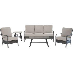 "Oakmont - 5-Piece Commercial-Grade Patio Set with 2 Aluminum/Woven Club Chairs, Sofa, Slat Coffee Table and 22"" Slat Side Table"