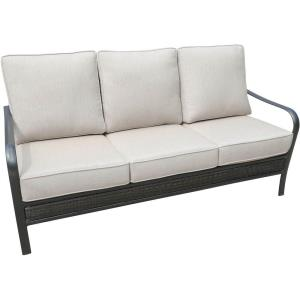 "Oakmont - 72.8"" Commercial-Grade Aluminum/Woven Sofa with Plush Sunbrella Cushions"