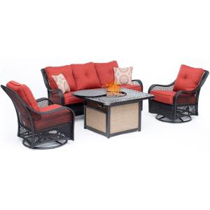 """Orleans - 74.6"""" 4-Piece Woven Lounge Set with 2 Woven Swivel Gliders, Sofa, and 40,000 BTU Cast-Top Fire Pit Table"""