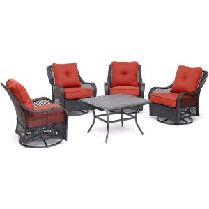 Orleans - 43.31 Inch 5 Piece Patio Chat Set with 4 Swivel Gilders