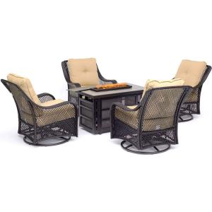 Orleans - 5 Piece Rectangle Kd Fire Pit with Tile Fir Pit Set with 4 Swivel Gilders
