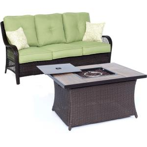 """Orleans - 74.8"""" 2-Piece Seating Set with Wood Tile Top with Fire Pit"""