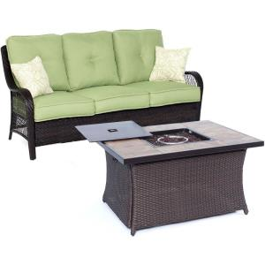 """Orleans - 74.8"""" 2-Piece Seating Set with Stone Tile Top with Fire Pit"""
