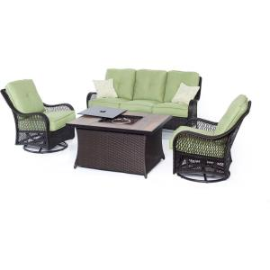 """Orleans - 74.8"""" 4-Piece Seating Set with Wood Tile Top with Fire Pit"""