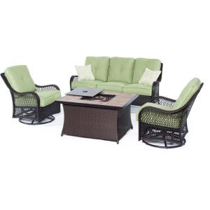 Orleans - 74.8 Inch 4-Piece Seating Set with Stone Tile Top with Fire Pit