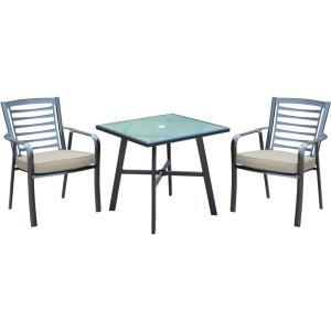 """Pemberton - 3-Piece Commercial-Grade Bistro Dining Set with 2 Cushioned Dining Chairs and a 30"""" Table"""