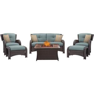 Strathmere - 43.82 Inch 6 Piece Fire Pit Set with Wood Grain Tile Top