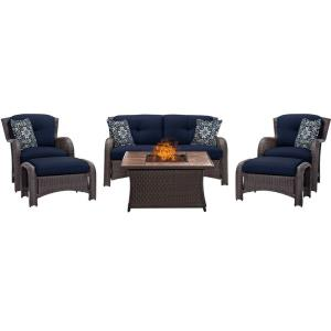 "Strathmere - 43.82"" 6 Piece Fire Pit Set with Tan Tile Top"