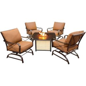 """Summer Nights - 41.81"""" 5-Piece Conversation Set with Cast-Top Fire Pit Table"""