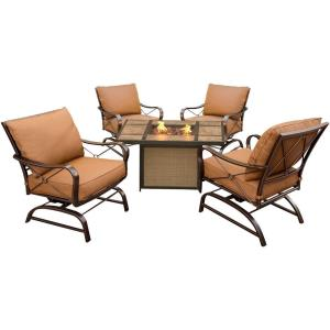 "Summer Nights - 41.81"" 5-Piece Conversation Set with Tile Top Fire Pit Table"