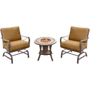 """Summer Nights - 24"""" 3 Piece Seating Set with 2 Steel Rockers and Cast Fire Urn"""