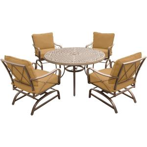 Summer Nights - 48 Inch 5 Piece Dining Set with 4 Steel Rockers