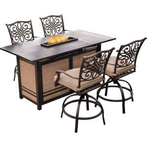 """Traditions - 68.54"""" 5-Piece High-Dining Set with 4 Tall Swivel Chairs and 30,000 BTU Fire Pit Dining Table"""