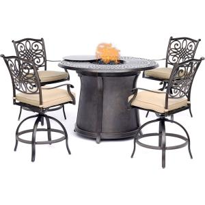 "Traditions - 48"" 5 Piece High Fire Pit Set with 4 Swivel Chairs"