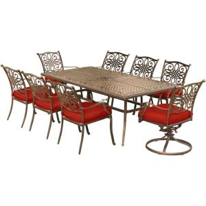"""Traditions - 84"""" 9 Piece Dining Set with 6 Dining Chairs and 2 Swivel Rockers"""
