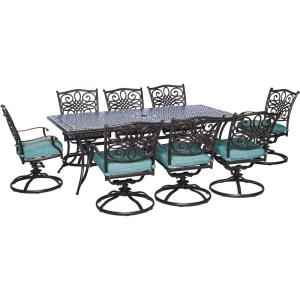 """Traditions - 84"""" 9 Piece Dining Set with 8 Swivel Rockers"""