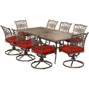 "Traditions - 84"" 9 Piece Dining Set with 8 Swivel Rockers"