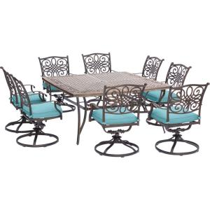 Traditions - 60 Inch 9 Piece Square Dining Set with 8 Swivel Rockers