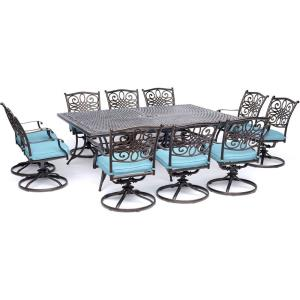 Traditions - 84 Inch 11 Piece Dining Set with 10 Swivel Rockers