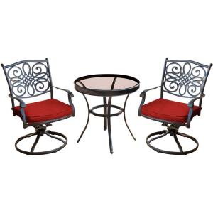 Traditions - 30 Inch 3 Piece Swivel Bistro Set with 2 Swivel Rockers