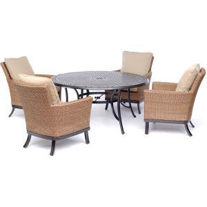 "Traditions - 60 "" 5 Piece Cast Top Dining Set with 4 Woven/Cushioned Chairs"