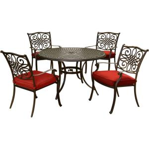 Traditions - 48 Inch 5 Piece Round Dining Set with 4 Dining Chairs