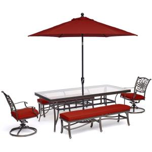"""Traditions - 84"""" 5-Piece Patio Dining Set with 2 Swivel Rockers, 2 Benches, Glass-Top Table, 11 Ft. Umbrella and Stand"""