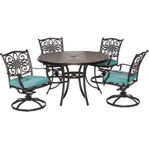 Traditions - 48 Inch 5 Piece Round Cast Dining Set with 4 Swivel Rockers