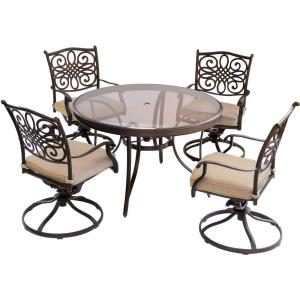 Traditions - 48 Inch 5 Piece Round Glass Top Dining Set with 4 Swivel Rockers