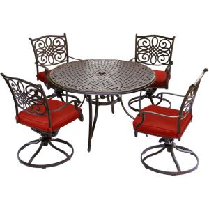 "Traditions - 48"" 5 Piece Round Cast Dining Set with 4 Swivel Rockers"