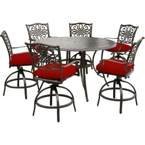 """Traditions - 56"""" 7-Piece High-Dining Set with 6 Swivel Chairs and 56"""" Cast-Top Table"""