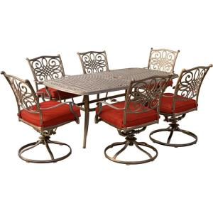 Traditions - 72 Inch 7 Piece Cast Top Dining Set with 6 Swivel Rockers