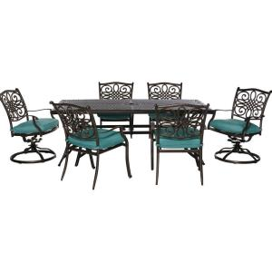 Traditions - 72 Inch 7 Piece Dining Set with 4 Dining Chairs and 2 Swivel Rockers