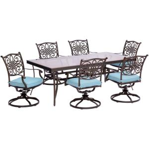 Traditions - 72 Inch 7 Piece Glass Top Dining Set with 6 Swivel Rockers