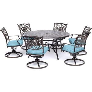 "Traditions - 60"" 7 Piece Round Dining Set with 6 Swivel Rockers"