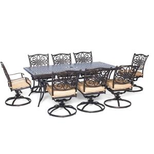 Traditions - 84 Inch 9-Piece Dining Set with Swivel Rockers