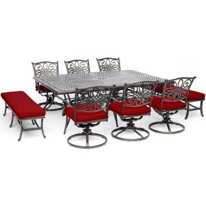 """Traditions - 84"""" 9-Piece Dining Set with 6 Swivel Rockers, 2 Benches, and 60"""" x 84"""" Cast-Top Dining Table"""