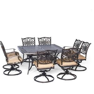 """Traditions - 60"""" 9-Piece Square Dining Set with Swivel Rockers"""