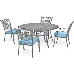 """Traditions - 48"""" 5 Piece Round Cast Dining Set with 4 Dining Chairs"""