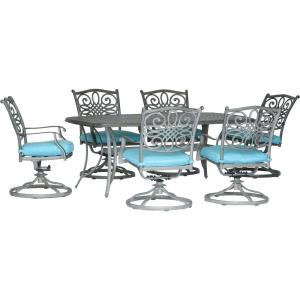 """Traditions - 72"""" 7 Piece Cast Dining Set with 6 Swivel Rockers"""